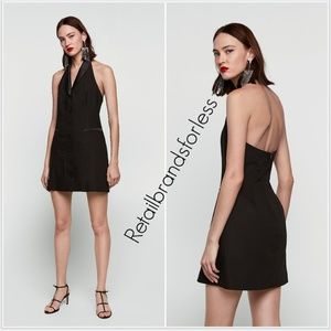 ZARA BLACK CONTRASTING SATIN TUXEDO HALTER DRESS